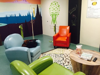 The main room of the FIRS Center includes games, TV, books, food and a bright interior design.