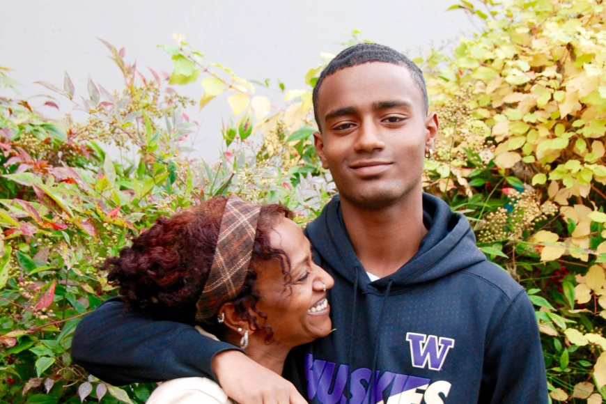 Image of Rimon and his mother, both part of the first King County Juvenile Court felony case to be resolved through a peacemaking circle