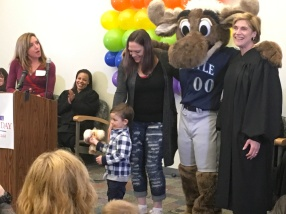 Image of families at posing with King County Superior Court Presiding Judge Susan Craighead